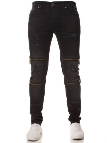 Mens idenim Skinny Slim Tapered Fit Distressed Zip Biker Black Stretchable Denim Jeans